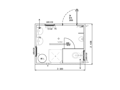 Standard Sanitärcontainer
