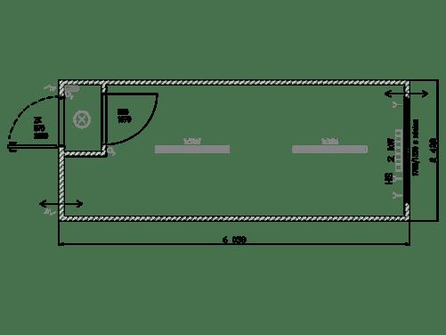 Bürocontainer mit Eingangsbereich und Fester